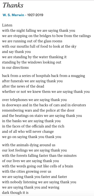 """Thanks"" by W.S. Merwin - poetsdotorg screenshot"