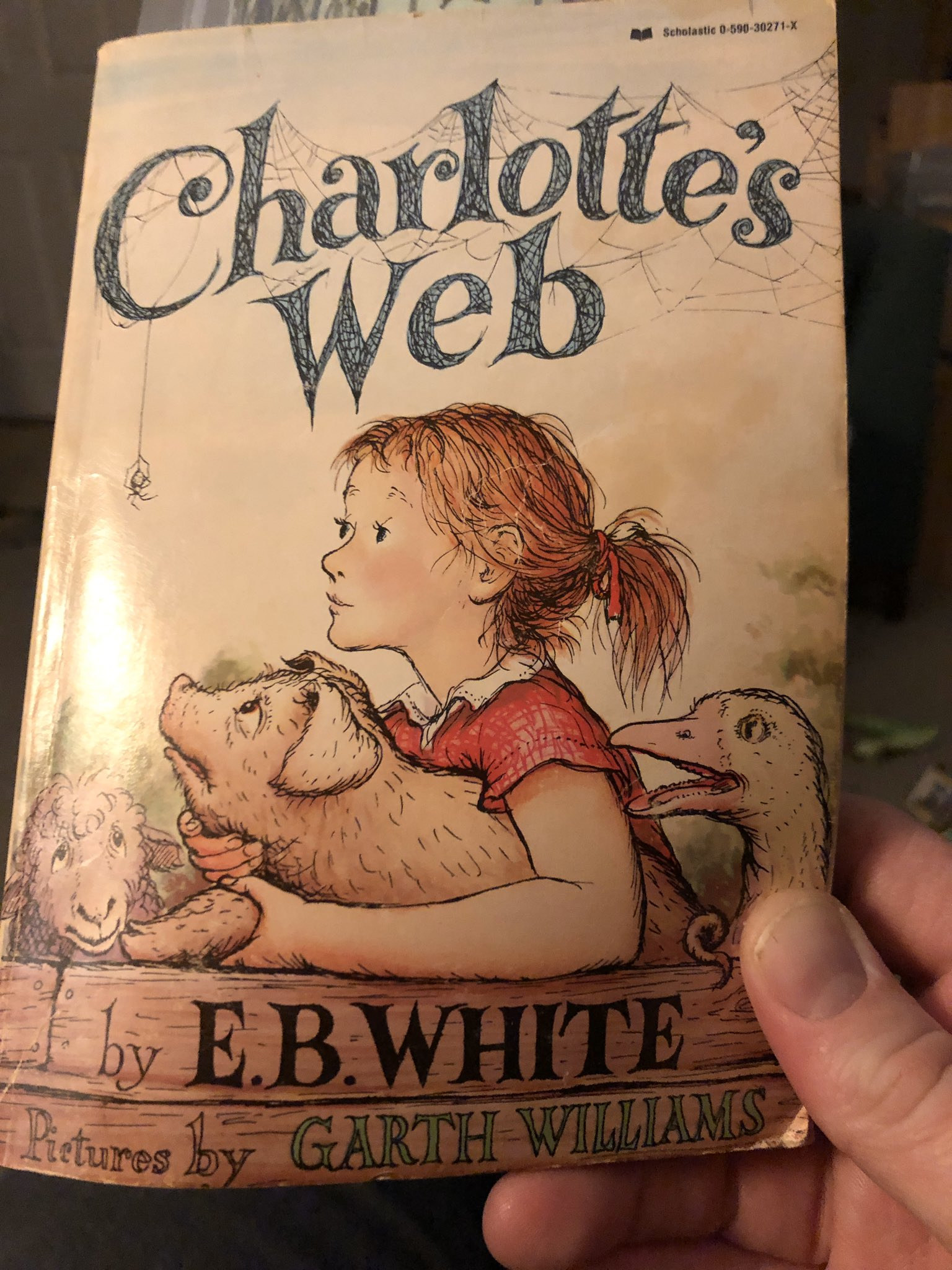 Holding Charlotte's Web in my hand