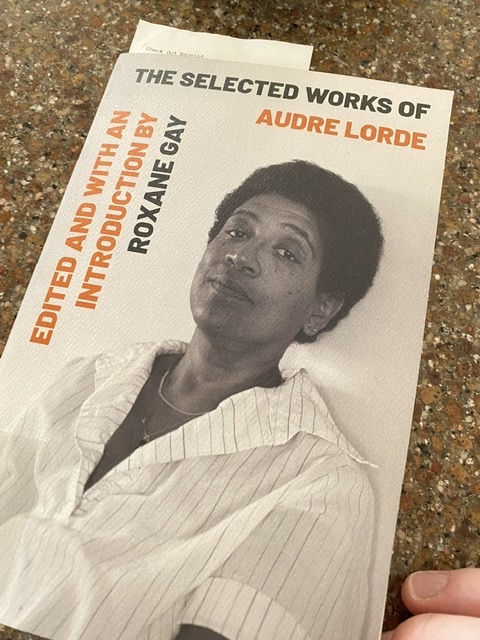 Selected Works of Audre Lorde on my kitchen counter